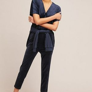 Anthropologie velour velvet jumpsuit in navy